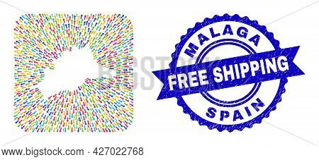 Vector Mosaic Malaga Province Map Of Leaving Arrows And Rubber Free Shipping Badge. Mosaic Malaga Pr