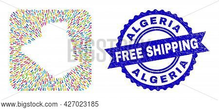 Vector Mosaic Algeria Map Of Navigation Arrows And Scratched Free Shipping Seal Stamp. Mosaic Algeri