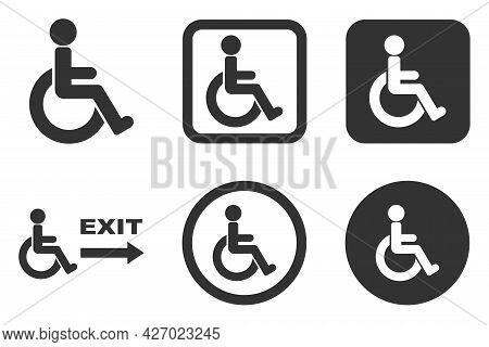 Man On A Wheelchair, People With Disabilities, Icons For The Disabled For Shopping Malls And Buildin