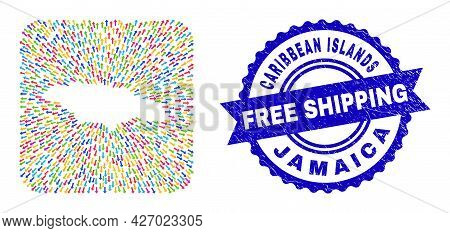 Vector Mosaic Jamaica Map Of Pointing Arrows And Scratched Free Shipping Stamp. Mosaic Jamaica Map D