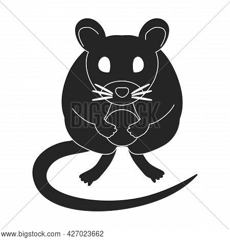 Mouse Vector Black Icon. Vector Illustration Rat On White Background. Isolated Black Illustration Ic