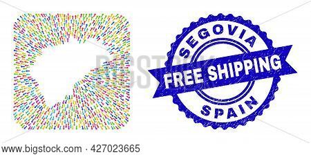 Vector Collage Segovia Province Map Of Pointer Arrows And Grunge Free Shipping Badge. Collage Segovi