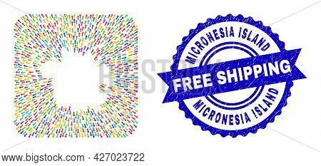 Vector Mosaic Micronesia Island Map Of Away Arrows And Scratched Free Shipping Stamp. Mosaic Microne