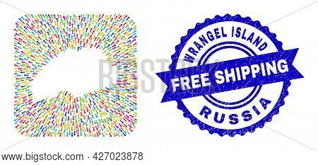 Vector Mosaic Wrangel Island Map Of Movement Arrows And Rubber Free Shipping Stamp. Mosaic Wrangel I