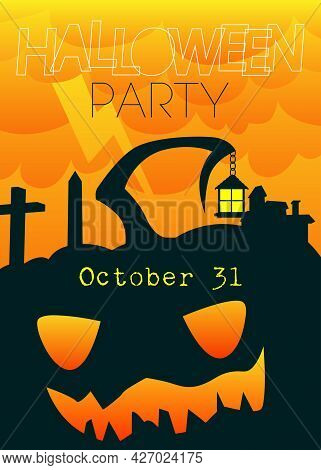 Happy Halloween Banner Or Party Invitation Background, Sale Poster. Vector Illustration With Garvest
