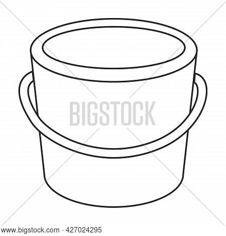 Wooden Bucket Vector Icon.outline Vector Icon Isolated On White Background Wooden Bucket.
