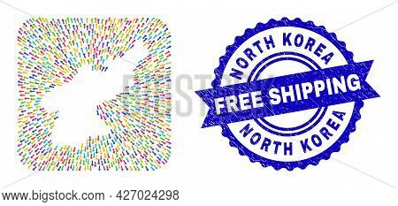 Vector Collage North Korea Map Of Away Arrows And Rubber Free Shipping Badge. Mosaic North Korea Map