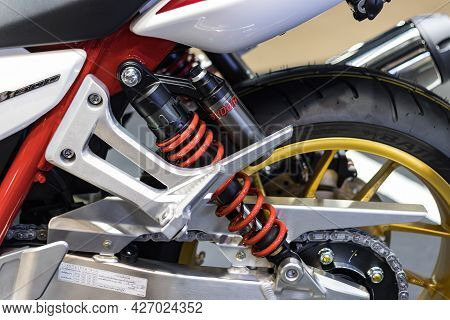 Nonthaburi Thailand -dec 9, 2020:-  Red Shock Absorbers Of Honda Motorcycle For Absorbing Jolts At I