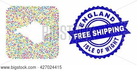 Vector Collage Isle Of Wight Map Of Navigation Arrows And Rubber Free Shipping Badge. Collage Isle O