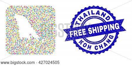 Vector Mosaic Koh Chang Map Of Abandon Arrows And Rubber Free Shipping Badge. Collage Koh Chang Map