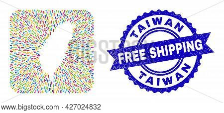 Vector Collage Taiwan Map Of Away Arrows And Scratched Free Shipping Badge. Collage Taiwan Map Creat