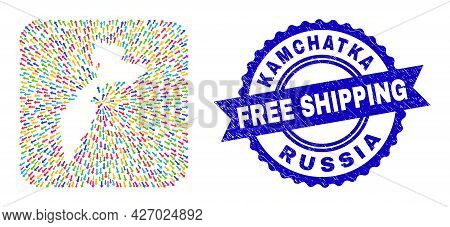 Vector Collage Kamchatka Map Of Straight Arrows And Rubber Free Shipping Seal. Collage Kamchatka Map