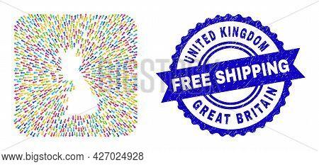 Vector Mosaic Great Britain Map Of Evacuation Arrows And Grunge Free Shipping Seal. Mosaic Great Bri