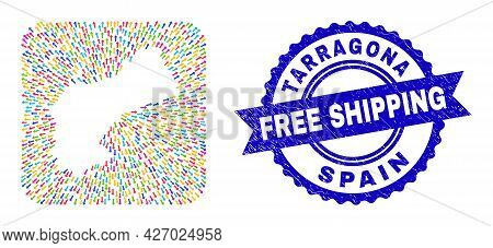 Vector Collage Tarragona Province Map Of Emigration Arrows And Grunge Free Shipping Stamp. Collage T