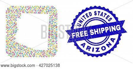 Vector Mosaic Arizona State Map Of Straight Arrows And Rubber Free Shipping Badge. Mosaic Arizona St