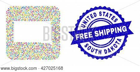 Vector Mosaic South Dakota State Map Of Arrows And Rubber Free Shipping Seal. Mosaic South Dakota St
