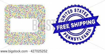 Vector Collage Pennsylvania State Map Of Emigration Arrows And Rubber Free Shipping Badge. Collage P