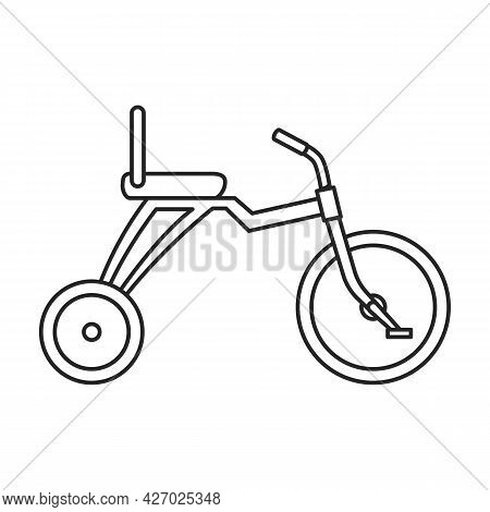 Bicycle Child Vector Outline Icon. Vector Illustration Bike Children On White Background. Isolated O