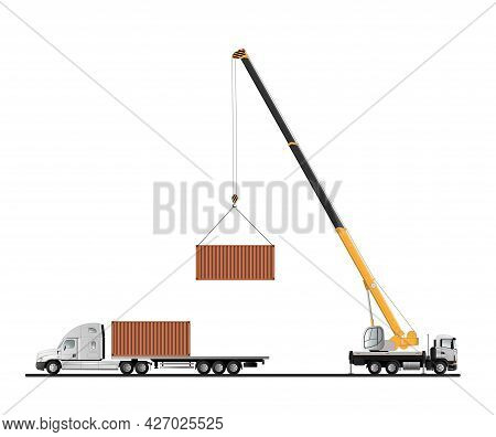 Truck Crane. The Process Of Unloading A Container Truck. Flat Vector Illustration.