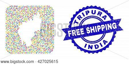 Vector Collage Tripura State Map Of Movement Arrows And Grunge Free Shipping Seal. Mosaic Tripura St