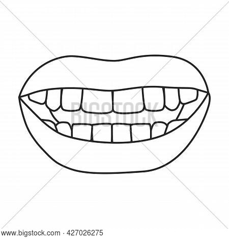 Female Lip Vector Outline Icon. Vector Illustration Mouth On White Background. Isolated Outline Illu