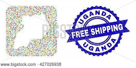 Vector Mosaic Uganda Map Of Navigation Arrows And Rubber Free Shipping Seal. Collage Uganda Map Desi