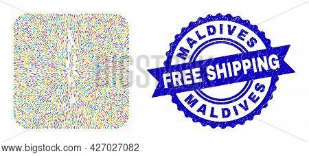 Vector Mosaic Maldives Map Of Pointer Arrows And Rubber Free Shipping Badge. Mosaic Maldives Map Cre