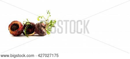 Maca. Peruvian Root For Vitality, Energy And Healty. Red Peruvian Maca In White Background