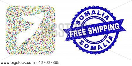 Vector Mosaic Somalia Map Of Motion Arrows And Rubber Free Shipping Stamp. Mosaic Somalia Map Constr