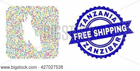 Vector Collage Zanzibar Island Map Of Delivery Arrows And Scratched Free Shipping Stamp. Collage Zan