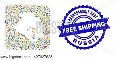 Vector Mosaic Krasnodarskiy Kray Map Of Straight Arrows And Scratched Free Shipping Badge. Mosaic Kr