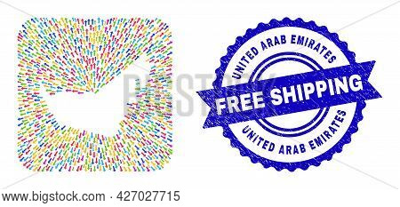 Vector Collage United Arab Emirates Map Of Moving Arrows And Rubber Free Shipping Seal Stamp. Collag