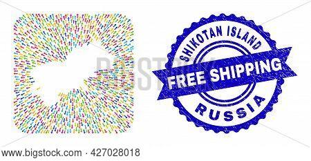 Vector Mosaic Shikotan Island Map Of Navigation Arrows And Rubber Free Shipping Seal Stamp. Mosaic S
