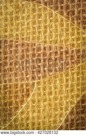 Abstract Tan Background. Minimalism.burlap Macro Texture. Sackcloth Texture With Or Background From