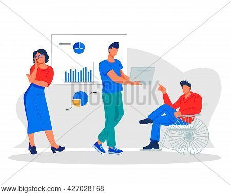 Diverse Office Business People Working Together In Common Workspace, Flat Vector Illustration Isolat