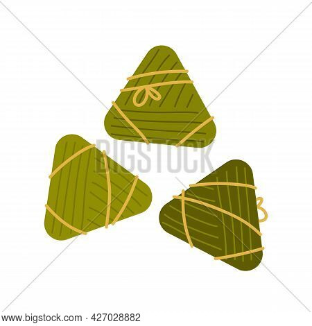 Traditional Holiday Food Taiwan. Chinese Rice Dumplings Zongzi Wrapped In Bamboo Leaves. Taiwanese T