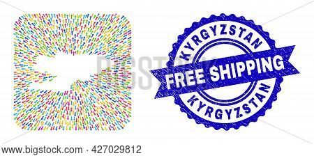 Vector Mosaic Kyrgyzstan Map Of Out Arrows And Rubber Free Shipping Badge. Mosaic Kyrgyzstan Map Des