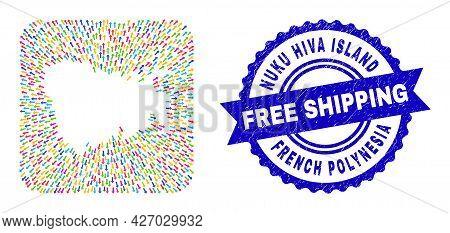 Vector Mosaic Nuku Hiva Island Map Of Leaving Arrows And Grunge Free Shipping Badge. Mosaic Nuku Hiv