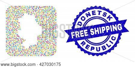 Vector Mosaic Donetsk Republic Map Of Arrows And Grunge Free Shipping Seal Stamp. Mosaic Donetsk Rep