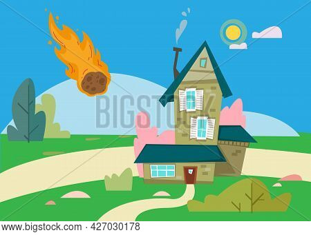 A Meteorite Falls On The House. Cartoon Illustration Of The Apocalypse. The Burning Stone Flies To T