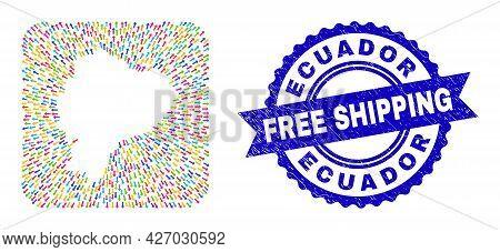 Vector Collage Ecuador Map Of Straight Arrows And Rubber Free Shipping Seal Stamp. Mosaic Ecuador Ma