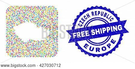 Vector Mosaic Czech Republic Map Of Pointing Arrows And Rubber Free Shipping Seal Stamp. Mosaic Czec