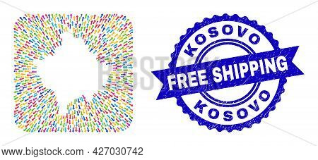 Vector Collage Kosovo Map Of Leaving Arrows And Rubber Free Shipping Seal. Collage Kosovo Map Create