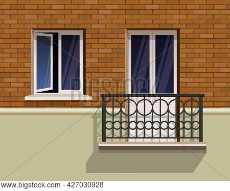 Open Window And A Balcony On A Brick Wall Realistic Flat Vector Illustration. A Slightly Open Window