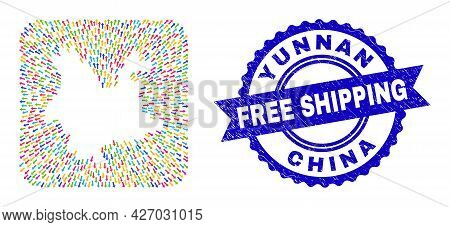 Vector Collage Yunnan Province Map Of Movement Arrows And Rubber Free Shipping Badge. Collage Yunnan