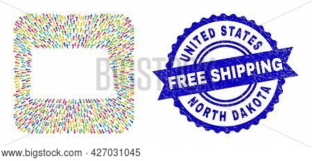 Vector Mosaic North Dakota State Map Of Direction Arrows And Grunge Free Shipping Seal. Mosaic North