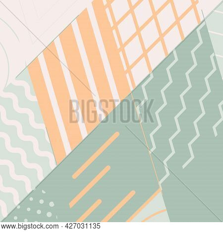 Vector Abstract Background. Geometric Shapesin A Grid Of Rhombuses. Parallel Lines And Zigzags, Circ