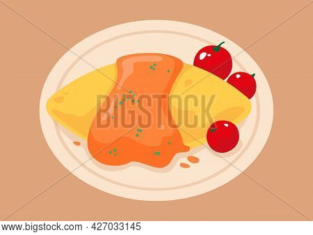 Omuraisuon A White Plate. Japanese Traditional Omelet. Vector Illustration Of Omelet Rice, Omelet.