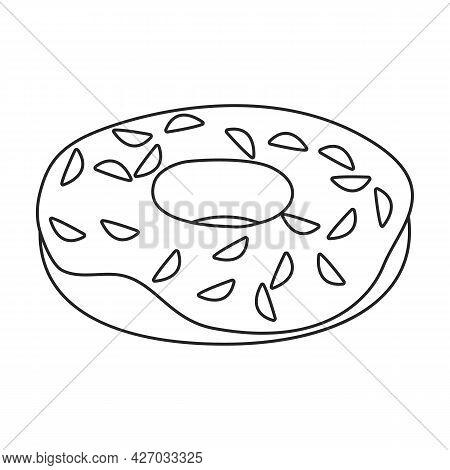 Doughnut Vector Outline Icon. Vector Illustration Donut On White Background. Isolated Outline Illust