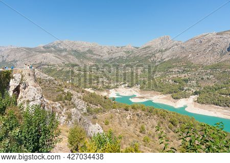 Turquoise Water Of Reservoir At Guadalest, Spain